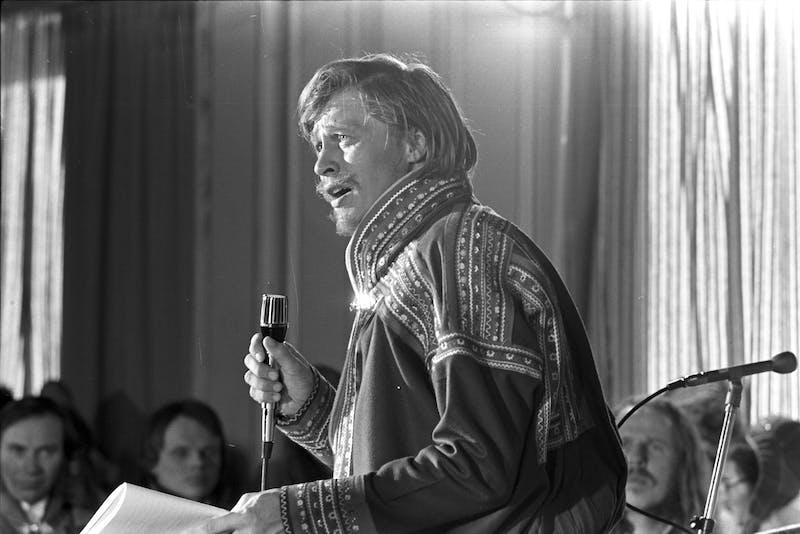 1 Joikekonsert Guovdageaidnu Kautokeino påsken 1973 Foto Jorma Korhonen Sámi Museum Siida